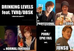 TVXQ 5 drinking levels!! Lol Jae being pro and then, just... Junsu...