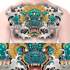 Fu dog chest piece up for grabs Grey Ink Tattoos, God Tattoos, Asian Tattoos, Body Art Tattoos, Full Chest Tattoos, Chest Piece Tattoos, Foo Dog Tattoo Design, Oni Mask Tattoo, Hipster Tattoo