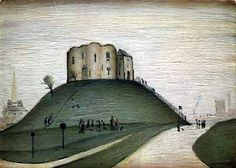 Clifford's Tower, York by LS Lowry Held in York Art Gallery. Tate Britain, Urban Industrial, English Artists, Building Art, Green Landscape, Naive Art, Medium Art, Art Day, Landscape Paintings