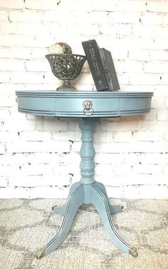 End Table Hand Painted Vintage Duncan Phyfe Blue Grey Solid Paintedfurniture
