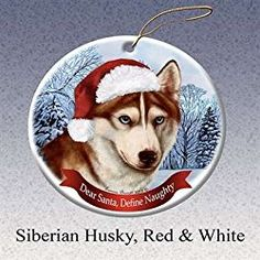 siberian husky christmas ornament with santa hat dog porcelain