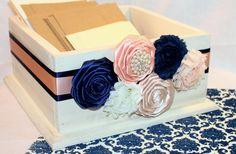 CARD BOX Wedding Card Box  Navy and Peach Wedding by itsmyday