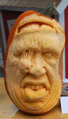 "This awesome pumpkin was done by a man named Ray Villafane & he did this & others on ""Food Network Challenge: Outrageous Pumpkins"". 1"