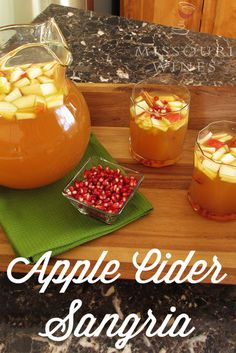 Combine everything that& great about fall in this easy and delicious sangria recipe with award-winning Missouri wine! Sangria Recipes, Wine Recipes, Cooking Recipes, Holiday Appetizers, Holiday Drinks, Party Drinks, Apple Cider Sangria, Wine Tasting Party, Cooking Wine