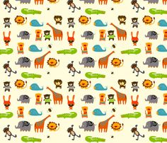Animals fabric by suryasajnani on Spoonflower.com - custom fabric on cotton - silk ranges from $18/yd - $32/yd