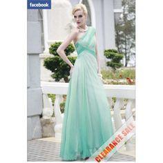 Best Ombre Green One Shoulder Cheap Formal Dresses