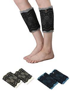 552622e91 Santwo Women Winter Warm Crochet Knitted Boot Cuff Sock Short Leg Warmer 3  Pairs (model