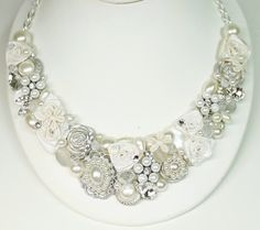 Pearl Bridal Bib Necklace Bridal Statement Necklace by BrassBoheme, $125.00