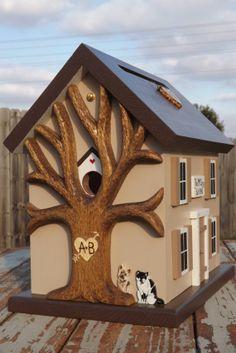 Small Wedding Card Box Birdhouse with Heart by mulberrylanefolkart, $139.00