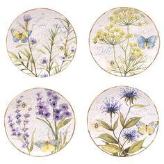 Herb Garden Dessert Plate (Set of 4)//