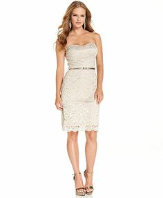 Luxology Dress, Strapless Glitter Lace Belted Sheath. Prachtig jurk op mijn pinbord