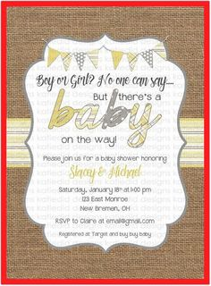 Gender neutral baby shower invitations burlap yellow gray bunting banner baby sprinkle gender reveal twin (item shabby chic invitation - All You Need To Know About Baby Shower Baby Shower Invitation Message, Baby Shower Invitation Templates, Invitation Ideas, Invitation Cards, Invitation Background, Baby Invitations, Printable Invitations, Shower Party, Baby Shower Parties