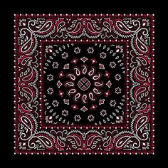 28df920d49d Amazon.com  Black with Red Square Burst Paisley Bandana - Single Piece  22x22  Clothing