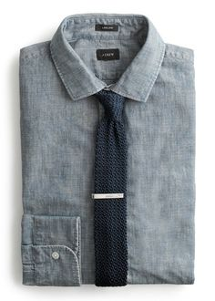 J.Crew Ludlow Chambray with a square knit tie