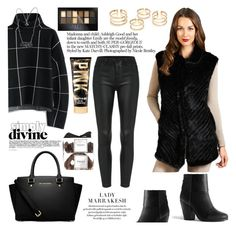 """""""The Julia Knitted Mink Vest"""" by furhatworld ❤ liked on Polyvore featuring FRR, Chicwish, rag & bone, MICHAEL Michael Kors, FREDS at Barneys New York, Maybelline, women's clothing, women, female and woman"""