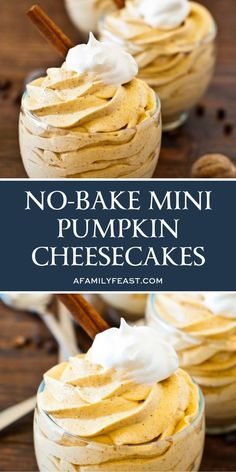 No Bake Mini Pumpkin Cheesecakes No Bake Mini Pumpkin Cheesecakes All About Food and Recipes Easy Recipes INGREDIENTSFor the sleeve graham crackers about nbsp hellip Cheese packaging Köstliche Desserts, Best Dessert Recipes, Delicious Desserts, Awesome Desserts, Healthy Desserts, Yummy Treats, Sweet Treats, Healthy Recipes, Sugar Free Cheesecake