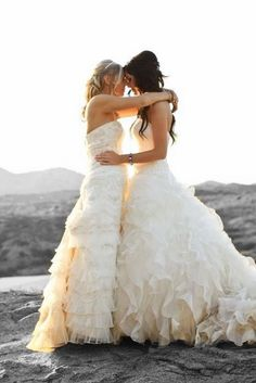 I like this because there are 2 great dresses                            a beautiful lesbian wedding