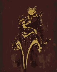 Knight Lautrec   Adrift on sea of isolation, only his faith in the love of his goddess remained true, and so the knight forsook all else. The face is crafted to depict the goddess's embrace, quite ignoring the fact that her love is in fact as fickle as the weather.