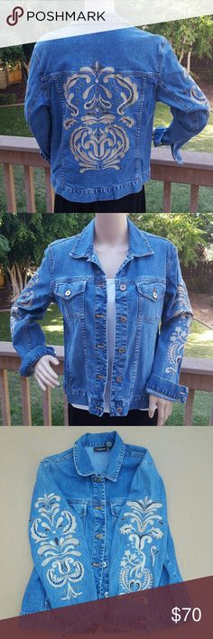 Gorgeous Chico's Jean jacket Stunning ladies Chico's Jean jacket with tan color embroidery. Embroidery is on the back of jacket and on sides of sleeves. Silver metal buttons for front closure. In excellent condition. Only worn a few times. No stains or signs of wear and tear.  Chico's size 1 which is similar to a size 8.  Comes from a smoke-free home. Chico's Jackets & Coats