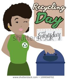 Young brunette lady winking at you next to a cute recycle bin, promoting good sorting and recycling habits for Recycling Day celebration and reminder to do it everyday. Sorting, Celebration, Recycling, Royalty Free Stock Photos, Lady, Cute, Pictures, Image, Photos