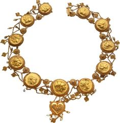 Late Victorian or Early Edwardian Etruscan Revival Gold Necklace with Gold Coins of Philip II & Alexander III the Great (359-323 BC) Ten Gold staters and one gold distater mounted in a late Victorian...