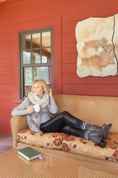 Rich charcoal boots and poignant pewter booties take you from your bustling life into a relaxing lakeside evening with ease. Clarks Narrative booties, matched with a great Pistil scarf and Smartwool knee socks complete this relaxed look.