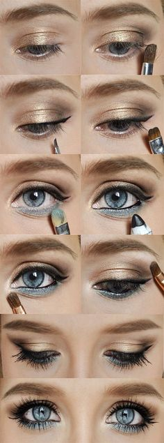 Gold and blue eye makeup for blue eyes @Cyndi Haynes Green