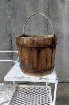 Primitive Wooden Well Bucket / Grain bucket/ Water bucket - pinned by pin4etsy.com