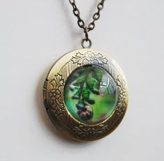 Locket Pendant necklace with new zealand fern by NewCreatioNZ