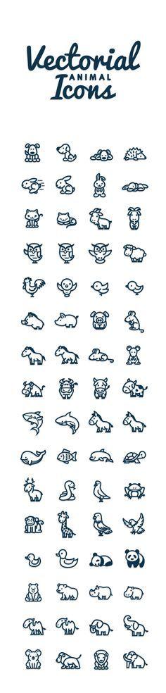 Vectorial Animals by Bodea Daniel, via Behance // Petits animaux divers : chien, hérisson, lapin, chat, chèvre, hibou, mouton, coq, oiseau, sanglier, cochon, cheval, souris, vache, requin, âne, baleine, poisson, dauphin, tortue, renne, serpent, pigeon, mouette, grenouille, singe, girafe, aigle, canard, panda, ours, rhinocéros, hippopotame, chameau, éléphant, koala, lion, mammouth