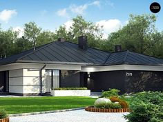 A One story House With A Double Garage Bungalow Haus Design, Modern Bungalow House, Bungalow House Plans, Home Building Design, Home Design Plans, Building A House, One Level House Plans, Narrow House Plans, House Plans Mansion