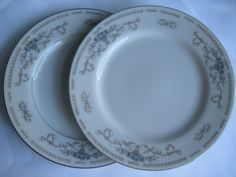 Set of 2 Petite Blue Roses in Baskets Dessert Plates at The Vintage Marketplace at Blue Thistle Paperie