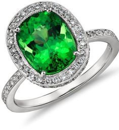 Blue Nile ||  Tsavorite and Diamond Eternity Ring in Platinum Uniquely stunning, this Gemstone and Diamond Eternity Ring showcases a Tsavorite Green Garnet Gemstone and pavé-set round Diamonds in enduring Platinum