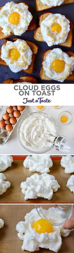 Cloud Eggs on Toast recipe from justataste.com #cloudeggs #recipe