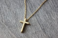 Matte Gold Cross necklace  dainty delicate  by TaraJacksonJewelry, $37.99