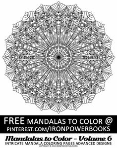 FREE Art Therapy Intricate Design Coloring Pages for Adults from @ironpowerbooks of Mandalas to Color | This is an Mandala Illustration from the book available at http://www.amazon.com/Mandalas-Color-Intricate-Coloring-Advanced/dp/1497344883 | Please follow our boards for more FREE Mandalas to print! | Please use freely for personal non-commercial use