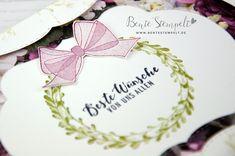 Scheife Stempelset Alles alles Gute Beste Wünsche Kranz Stampin' Up! Place Cards, Place Card Holders, Wedding Day, Crown Cake, Crafts, Cards