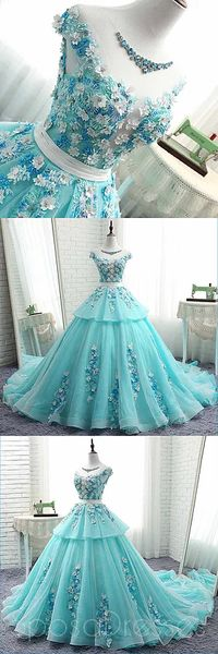 scoop cap sleeves tiffany blue lace long evening prom dresses cheap custom sweet 16 dresses 18522 - The world's most private search engine Sweet 16 Dresses, Cheap Prom Dresses, Quinceanera Dresses, Trendy Dresses, Cute Dresses, Homecoming Dresses, Fashion Dresses, Dresses With Sleeves, Formal Dresses