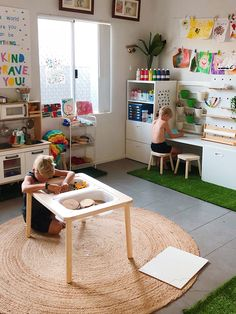 Montessori Playroom, Toddler Playroom, Ikea Kids Playroom, Montessori Toddler, Playroom Ideas, Ideas Habitaciones, Home Daycare, Kids Room Organization, Playroom Design