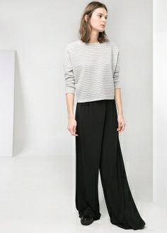 Printed palazzo trousers - Jackets - Women - MANGO
