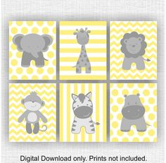 Dschungel Tiere, Elefant, Giraffe, Nilpferd, Löwe, Affe, Zebra, Chevron, gelb und grau, Baby BOY Wandkunst, Set 6, 8х10, sofort-download