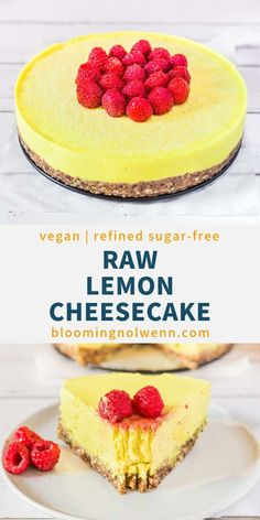 Raw Vegan Lemon Cheesecake is made with cashews and is delicious. This vegan cheesecake is gluten-free, oil-free, refined sugar-free and very easy to make. Perfect for lemon lovers! Desserts Crus, Raw Vegan Desserts, Raw Vegan Recipes, Vegan Dessert Recipes, Vegan Sweets, Healthy Desserts, Vegan Raw, Raw Vegan Cake, Healthy Recipes