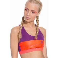 Adidas Stellasport Sport Bra Pad (245 SEK) ❤ liked on Polyvore featuring activewear, sports bras, purple, sports fashion, womens-fashion, purple sports bra, padded sports bra, logo sportswear, racerback sports bra and sports bra