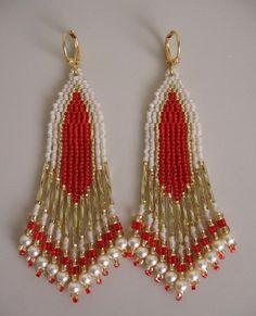 SALE - Seed Bead Earrings - Red