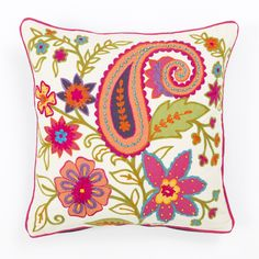 Buy Heavy Embroidered Floral Cushion Cover Toronto, Ottawa, Halifax | Wicker Emporium