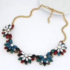 Snowboardi Multicolor Vintage Flower Design Alloy Korean Necklaces  www.asujewelry.com