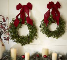 Love How This Mantle Is Decorated. Love The Wreaths.......