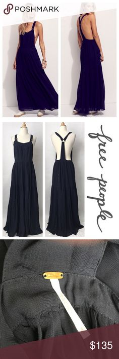 {Free People} Say You Wanna Dance Jumper Maxi Beautiful navy tiered maxi in excellent condition. Bibbed/the white dots in my picture are NOT stains, just the sun peaking in through my blinds overall style with tiered bottom. Retailed for 240! No trades, lowballs, or modeling! 😘 Free People Dresses Maxi