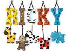 1 Letter - Individually Hanging Block Letter with adorable hanging shape/animal - ANY theme, child's  name, safari, zoo, jungle letters
