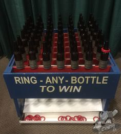 The Classic Ring Any Glass Bottle game is a western redneck theme carnival game and includes 12 red rings to play this carnival game. Buck And Doe Games, Stag Games, Engagement Party Games, Wedding Games, Wedding Ideas, Carnival Themes, Party Themes, Party Ideas, Gift Ideas